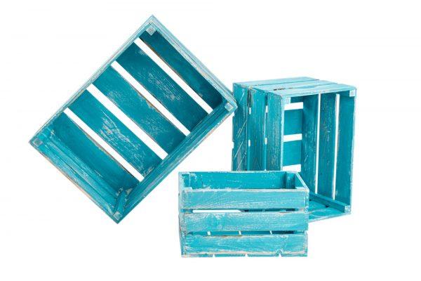 Lots de caisses «Klaudia»bleu vintage 1
