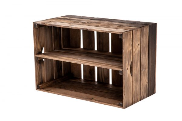 """Caisse à étagère """"Maxi"""" vernis foncé + planche centrale 1"""