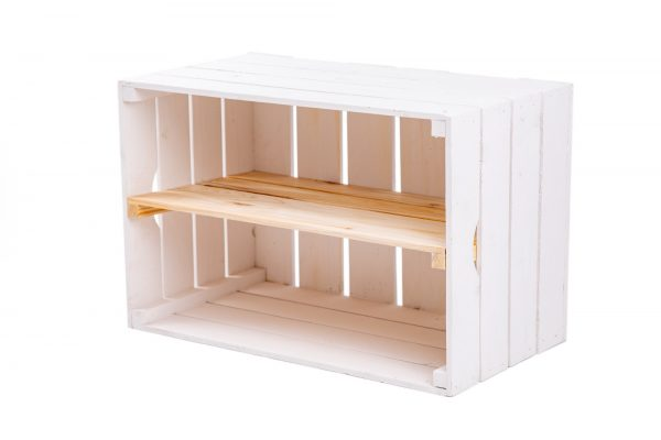 """Caisse à étagère""""Maxi"""" blanc + planche milieu nature 1"""