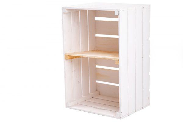"""Caisse à étagère""""Maxi"""" blanc + planche centrale format portrait nature 1"""