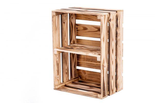 """Caisse à étagère """"Johnny"""" flambée + planche centrale format vertical 1"""