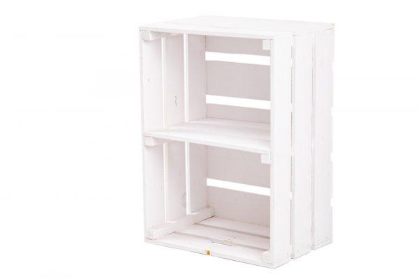 """Caisse à étagère """"Johnny"""" blanc + planche centrale format portrait 1"""