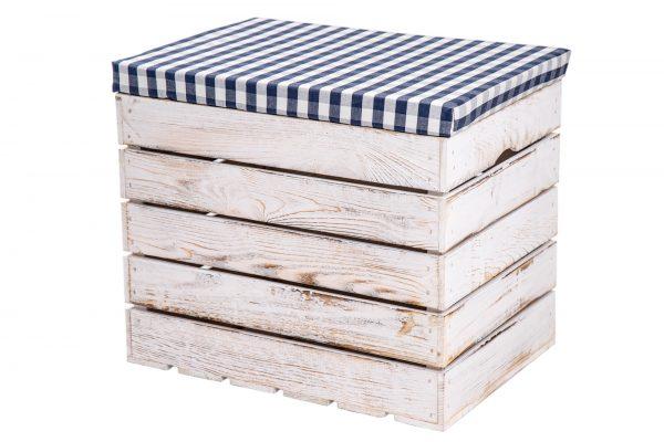 "Coffre pouf ""Sissi"" à carreaux blanc vintage / carreaux bleu-blanc 1"