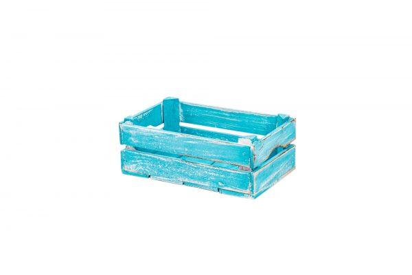 "Caisse en bois ""Linda"" bleu vintage 1"