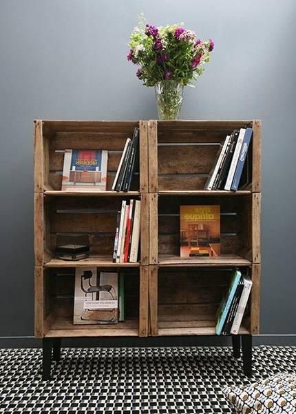 Acheter Caisse en bois au mur / fixer caisse a pomme au mur deco 1
