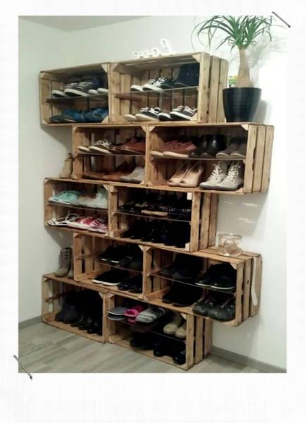 Acheter Caisse en bois brut : meuble a chaussure caisse a pomme deco 1